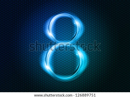 Number EIGHT from the big abstract numerical series. - stock vector