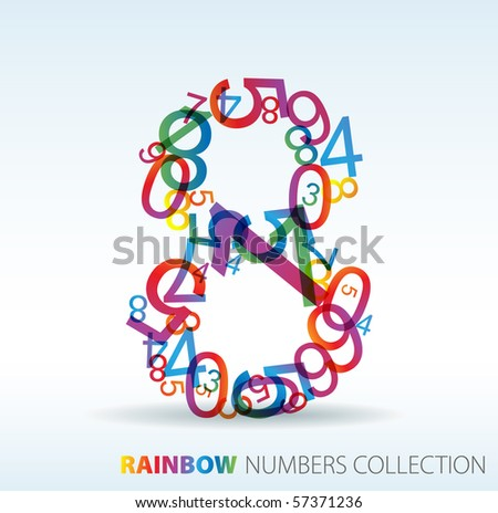 Number eight made from colorful numbers -  check my portfolio for other numbers - stock vector