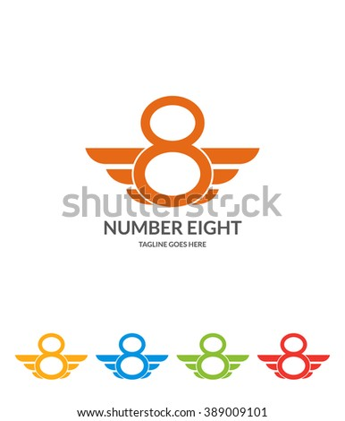 Number Eight. Number Logo. 5 versions  - stock vector