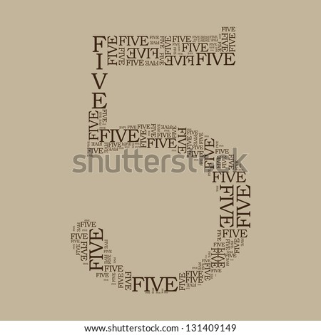number five created from text - illustration - stock vector