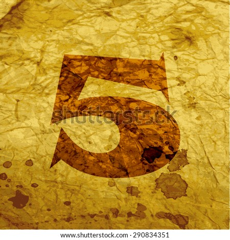 number five icon symbol on paper background. Vector illustration