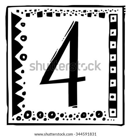 Number four as abstract woodcut style pattern. Vector design element illustration - stock vector