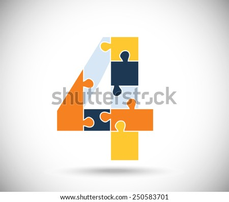 Number four consisted of  color puzzles  on the gray backdrop. - stock vector