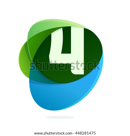 Number four logo in green leaves and blue drops. Colorful vector design for banner, presentation, web page, app icon, card, labels or posters. - stock vector
