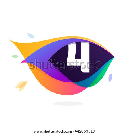 Number four logo in peacock feather icon. Colorful vector design for banner, presentation, web page, app icon, card, labels or posters. - stock vector