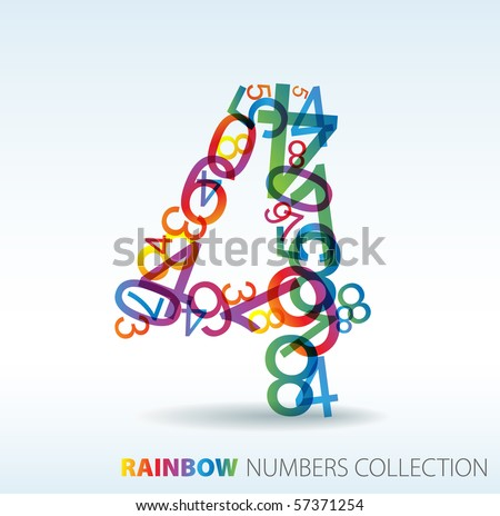 Number four made from colorful numbers -  check my portfolio for other numbers - stock vector