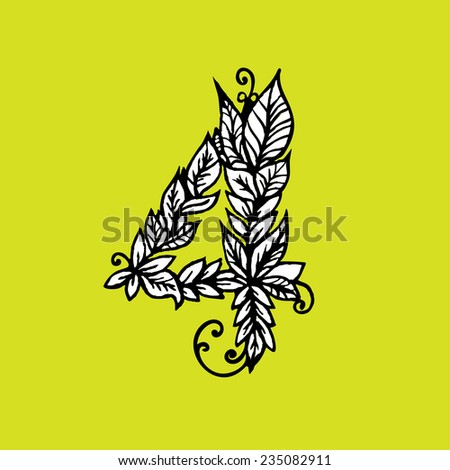 Number four, vector illustration - stock vector