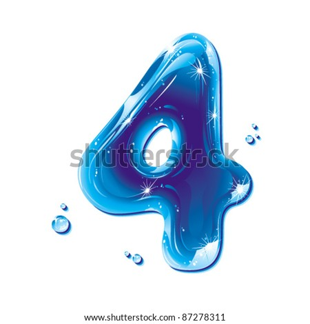 Number four, with water written numeral, Vector Illustration
