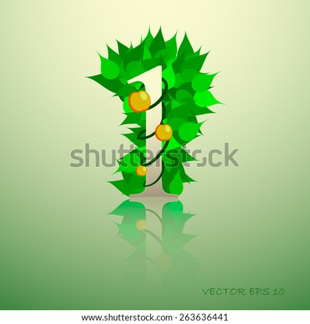 Number from autumn colorful leaves 1 with reflection - stock vector