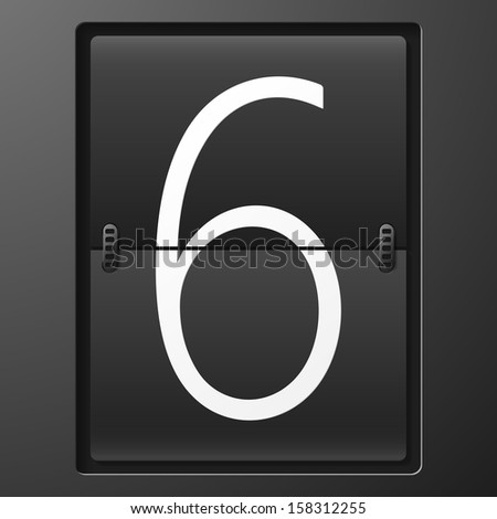 Number from mechanical scoreboard alphabet - stock vector