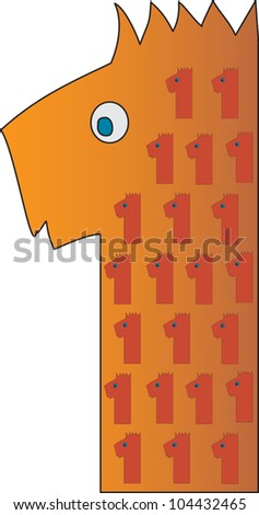 Number 1 from the Crazy Creature Alphabet set, featuring vibrant colors and cute animal characters - stock vector