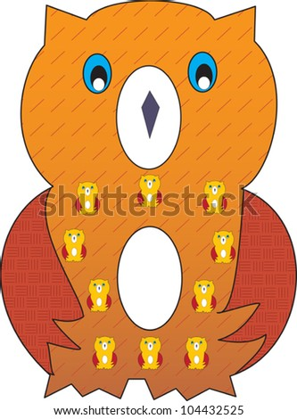 Number 8 from the Crazy Creature Alphabet set, featuring vibrant colors and cute animal characters - stock vector
