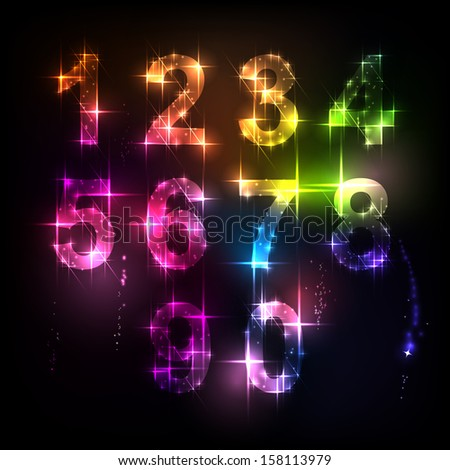 Number from 0 to 9 over black background. Salute - stock vector