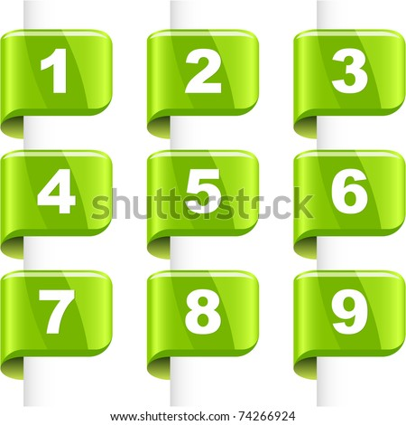 Number icon for page. Vector collection. - stock vector