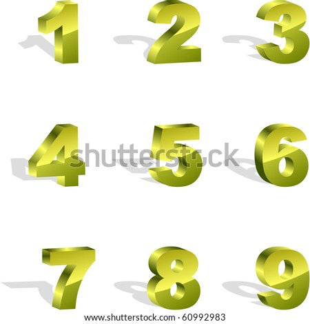 Number icons. Vector set. - stock vector