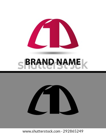 Number logo design.Number one logo  - stock vector