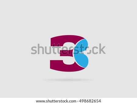 Number Logo Design Number Three Logo Logo 3 Stock Vector HD (Royalty ...