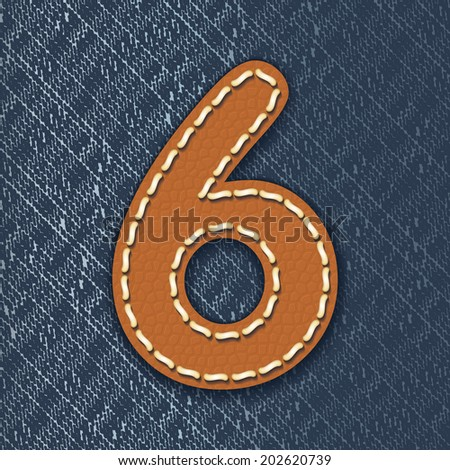 Number 6 made from leather on jeans background - vector illustration - stock vector