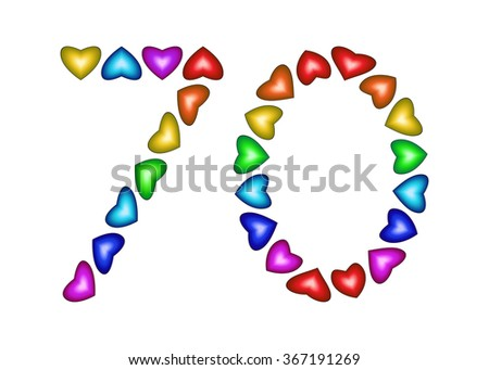 Number 70 made of multicolored hearts on white background - stock vector