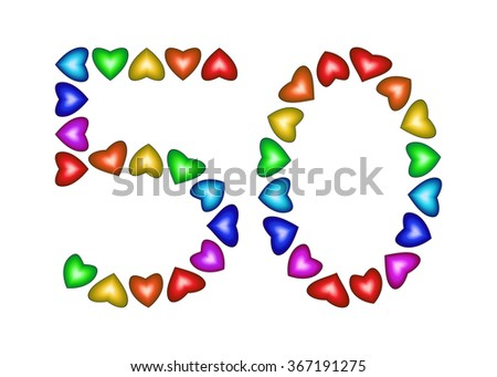 Number 50 made of multicolored hearts on white background - stock vector