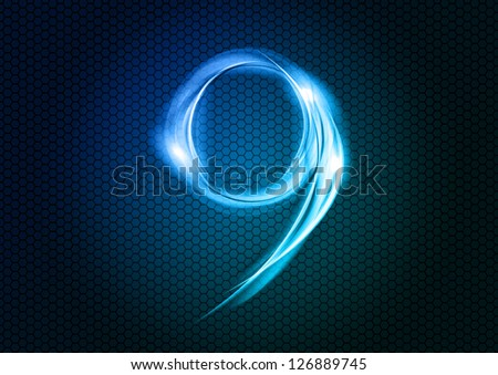 Number NINE from the big abstract numerical series. - stock vector