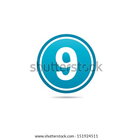 Number Nine Icon - stock vector