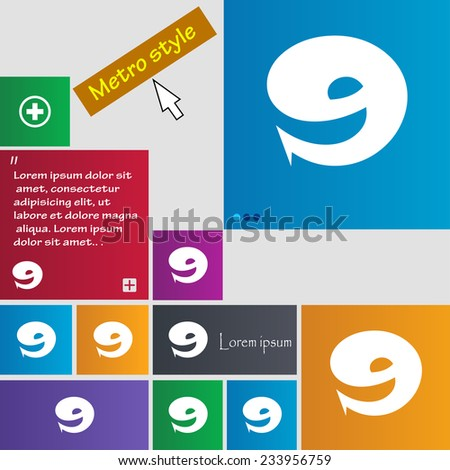number Nine icon sign. Set of coloured buttons. Vector illustration