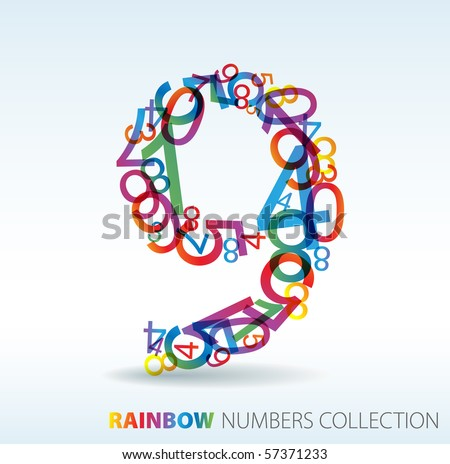 Number nine made from colorful numbers -  check my portfolio for other numbers - stock vector