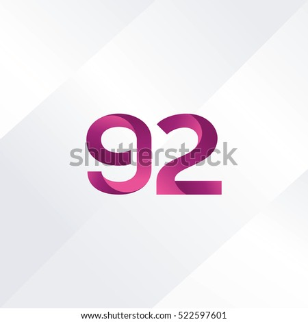 Number ninety two 92 Logo, Digit 92 Icon