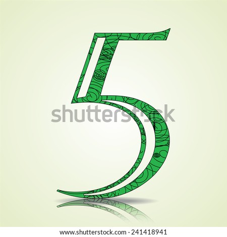 Number of Collection made of swirls - 5 Vector illustration - stock vector