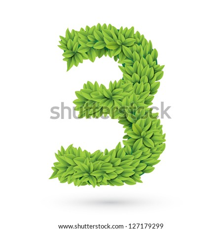 Number of green leaves vector illustration - stock vector