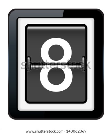Number 8 on a mechanical timetable - stock vector