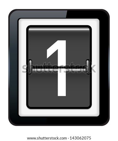 Number 1 on a mechanical timetable - stock vector