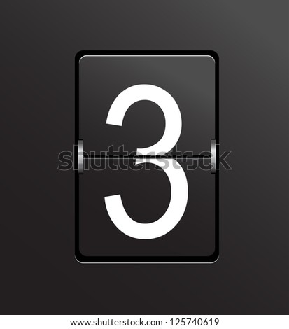 Number 3 on black panel background vector. - stock vector
