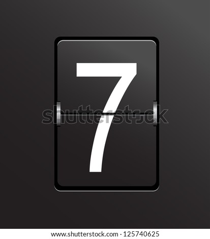 Number 7 on black panel background vector. - stock vector