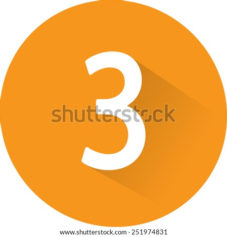 Number 3 on white background. Vector illustration - stock vector