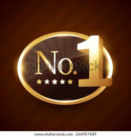 number one brand golden label vector design illustration - stock vector