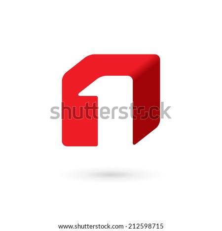 Number one 1 cube logo icon design template elements. Vector color sign. - stock vector