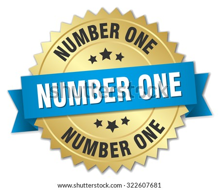 number one 3d gold badge with blue ribbon. number one badge. number one. number one sign - stock vector