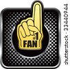 number one fan foam hand on black halftone web button - stock vector