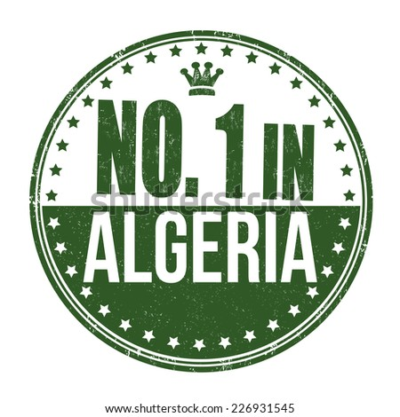Number one in Algeria grunge rubber stamp on white background, vector illustration - stock vector