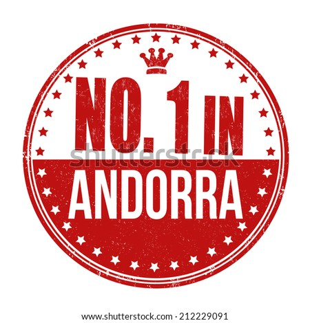 Number one in Andorra grunge rubber stamp on white background, vector illustration - stock vector