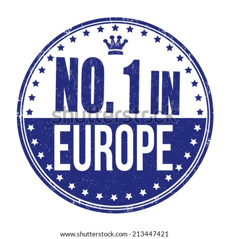 Number one in Europe grunge rubber stamp on white background, vector illustration - stock vector