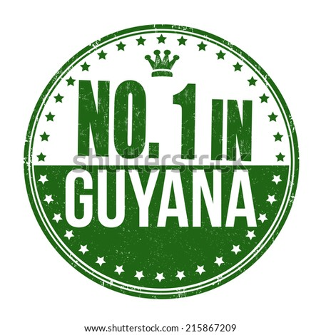 Number one in Guyana grunge rubber stamp on white background, vector illustration - stock vector