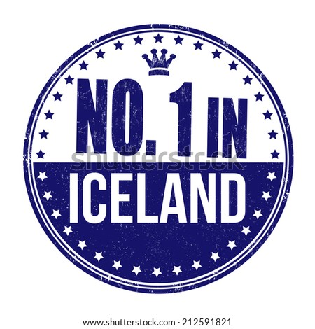 Number one in Iceland grunge rubber stamp on white background, vector illustration - stock vector