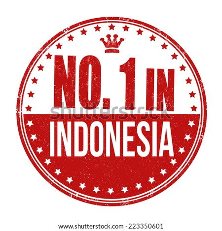 Number one in Indonesia grunge rubber stamp on white background, vector illustration - stock vector