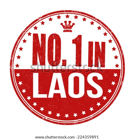 Number one in Laos grunge rubber stamp on white background, vector illustration - stock vector