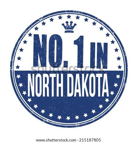 Number one in North Dakota grunge rubber stamp on white background, vector illustration - stock vector