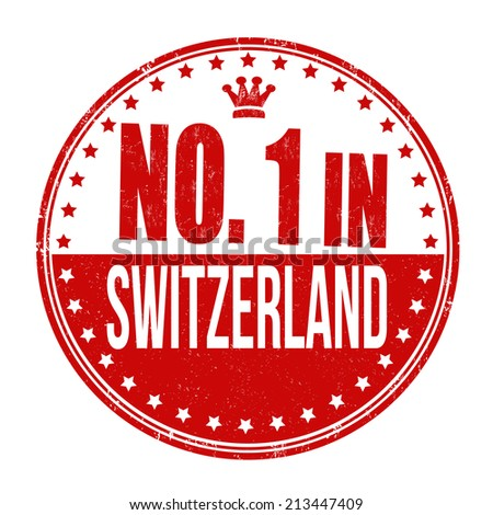 Number one in Switzerland grunge rubber stamp on white background, vector illustration - stock vector