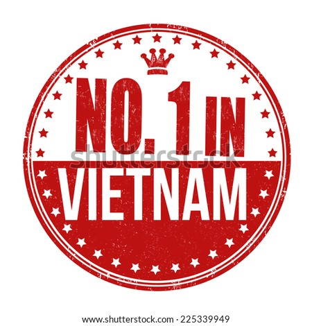 Number one in Vietnam grunge rubber stamp on white background, vector illustration - stock vector